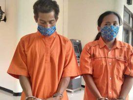 MS dan SM, Pasutri tersangka pembunuh HL saat dihadirkan dalam Presscomp di Mako Polres Kutim.